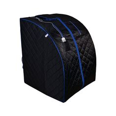 ALEKO Personal Folding Portable Home Infrared Sauna w/ Folding Chair and Foot Pad, Black w/ Blue Trim Color Best Infrared Sauna, Portable Infrared Sauna, Portable Sauna, Portable House, Barrel Sauna, Traditional Saunas, Dry Sauna, Hiking Tent, Foot Pads