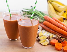 Carrot Cake Smoothie 1 1/2 cups milk substitute or filtered water 1 cup carrots (1 large or 2 small carrots) 1 serving Vega One (Vanilla Chai Flavor) or Vega Sport Performance Protein (Vanilla Flavor) 2 Tbsp gluten-free oats (such as Bob's Red Mill) 1 banana (fresh or frozen) 1 tsp ginger (fresh preferred or ground) 1 tsp vanilla 1 tsp cinnamon 1 tsp allspice