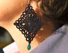 pendientes negros crochet, cuelga los pendientes, diamantes, pendientes de bisutería de ganchillo, joyería textil, pendientes románticos, pendientes colgante de encaje