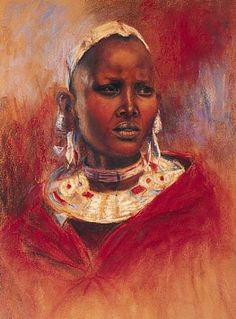 Portrait of a young Maasai Woman - Painting Art by Angela Drysdale - Nature Art & Wildlife Art - African Wildlife Art, Landscapes and Portraits in Oil and Pastel - Drysdale Art Acrylic Portrait Painting, Woman Painting, Painting & Drawing, African Paintings, African Art, Tribal People, Celebrity Portraits, Wildlife Art, Tribal Art