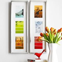 Love this colorful ombre paint-chip photo collage! Find out how to make it here: http://www.bhg.com/holidays/mothers-day/gifts/mothers-day-photo-gifts/?socsrc=bhgpin041013ombrecollage=4