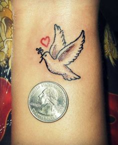 Love and Dove Tattoo for Girls