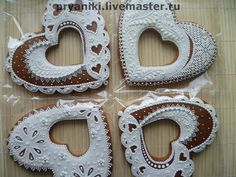 "Culinary handmade souvenirs.  Fair Masters - handmade gingerbread hearts, ""Snow-white"".  Handmade."