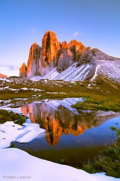 "Tre Cime di Lavaredo (Italian for ""the three peaks of Lavaredo"") in the Sexten Dolomites of northeastern Italy"