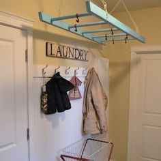 Old ladder idea for use in the laundry room