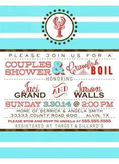 Crawfish or Lobster Boil Wedding Shower by SayItLoudDesigns, $15.00