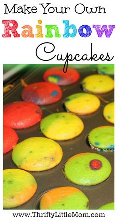 Make Your Own Rainbow Cupcakes.  Create these fun cupcakes for St. Patricks day or a thrifty birthday party to add some fun and color to any celebration!