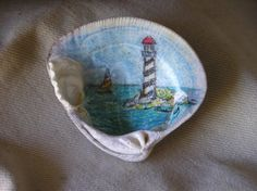 Lighthouse Painting on Shell from by CarlasCreativeCorner on Etsy, $12.00