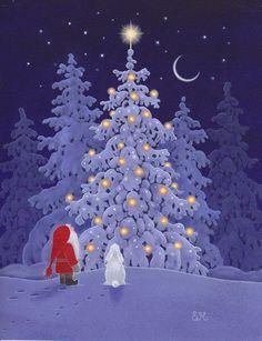 Eva Melhuish - Freelance Illustrator - Artwork for sale Swedish Christmas, Christmas Mood, Vintage Christmas, Christmas Crafts, Christmas Decorations, Merry Christmas, Illustration Noel, Christmas Illustration, Illustration Artists