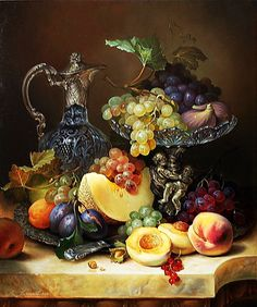 Paint by Number Kit Fruit Tray with Victorian Vase, Grapes, Plums, Peaches, Canalope. Paint by Number Kit Fruit Tray with Victorian Vase Grapes Plums Peaches Canalope. by OurPaintAddictions Victorian Vases, Plums And Peaches, Still Life Fruit, Mosaic Pictures, Acrylic Paint Set, Painted Cups, Still Life Photos, Fruit Painting, Paint By Number Kits
