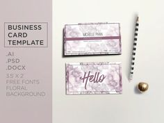 Cute Watercolor Floral Business Card Template Digital Files Pre - Cute business cards templates free