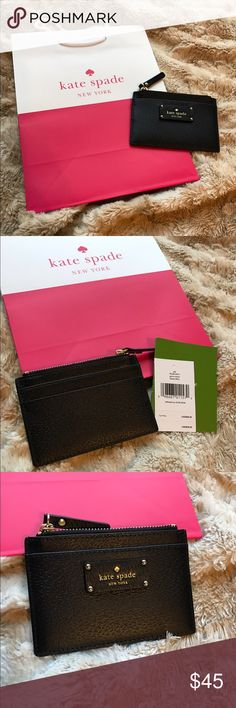 Kate Spade Card Holder Adi Kate Spade Adi Grove Street black card holder. Four card slots plus a zippered part. NWT. Wallet. Price is firm. Bundle and save! kate spade Bags Wallets