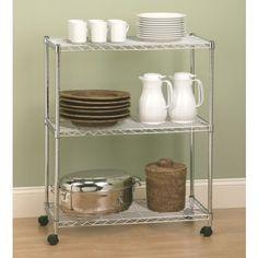 Saco  Kitchen Trolley   Mobile Storage 3 Tier Shelf Chrome