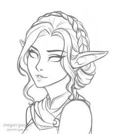 megantron on – Art Sketches Elf Drawings, Fantasy Drawings, Pencil Art Drawings, People Drawings, Cartoon Drawings, Art Drawings Sketches Simple, Sketch Art, Drawing Ideas, Anime Sketch