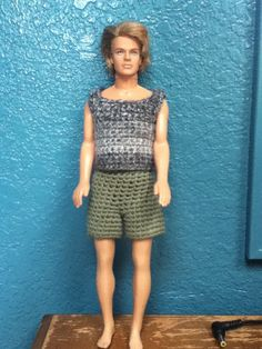Crochet Toy Barbie Clothes Free pattern for Ken doll tank and shorts Diy Ken Doll Clothes, Barbie Clothes Patterns, Clothing Patterns, Ken Barbie Doll, Free Barbie, Doll Patterns Free, Free Pattern, Easy Patterns, Gowns