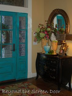 Turquoise front door-a way to inject a jolt of color into your home.
