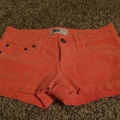 Corduroy shorts Orange corduroy slash jean shorts, size one juniors SO Shorts