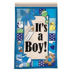 """It's a Boy Flag by Flag Trends. $25.37. Baby Anouncement Flag. Double Sided Applique Flag. Large Size 29"""" x 42"""". It's a Baby Boy Announcement Flag. Large Double Applique' Flag is 29 in. x 42 in. and readable on both sides. Double-Sided, Made from Heavyweight Nylon, 3-ply Construction, Fade Resistant Fabric, Waterproof. Save 37% Off!"""