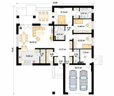 Ambrozja 7 projekt domu - Jesteśmy AUTOREM - DOMY w Stylu Modern Bungalow House, Home Fashion, My House, House Plans, New Homes, Floor Plans, Construction, House Design, How To Plan