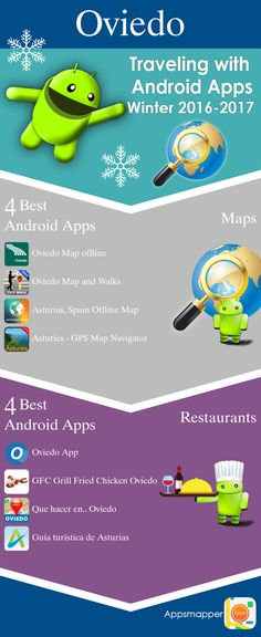 Oviedo Android apps: Travel Guides, Maps, Transportation, Biking, Museums, Parking, Sport and apps for Students.