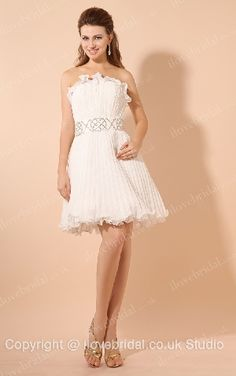 Floral White Organza Wrinkled A-line Cocktail Dress With Beaded Ribbon