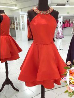 Generous Jewel Sleeveless Short Red Satin Homecoming Dress with Beading Tiered,Short prom dress,