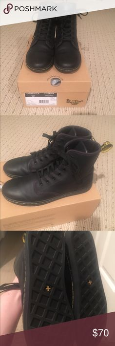 Dr Martens Shoreditch boots-100% leather worn once Beautiful Dr Marten boots.. I have too many shoes and I am selling some of them.. don't miss out on these great boots!! Dr. Martens Shoes Combat & Moto Boots