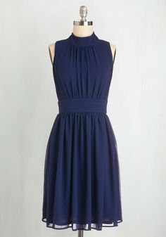 Windy City Dress in Navy - Blue, Solid, Sleeveless, A-line, Best Seller, Variation, Chiffon, Basic, Gifts Sale, Woven, Wedding, Bridesmaid, Mid-length, Daytime Party, Better