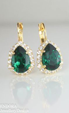 Emerald green swarovski crystal teardrop earrings   emerald wedding   emerald earrings   swarovski earrings   www.endorajewellery.etsy.com