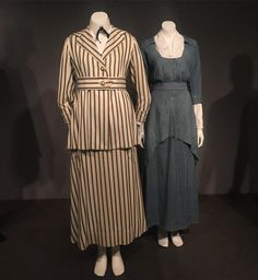 """A walking suit and work ensemble currently on view in the Museum at FIT's Denim: Fashion Frontier exhibit. The ensemble at left is circa 1916 while the…"""