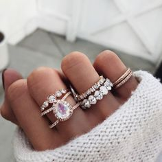 Winter white out ✨✨   large double band teardrop moonstone, diamond crown ring, full baguette diamond ring, custom oval eternity band…
