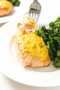 Easy 4 ingredient Orange Mustard Glazed Salmon, ready in just 15 minutes! #paleo #whole30 #glutenfree #lowcarb