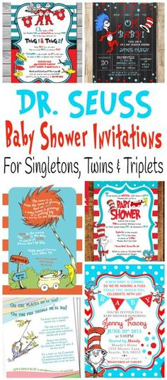 Cute and adorable printable Dr. Seuss baby shower invitations for celebrating the birth of one baby, twins or triplets.