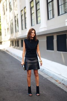 Black on black with Céline and Hermès accessories. Perfect.