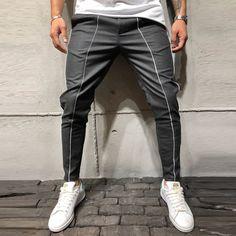 Ankle Pants Front and Side Stripes - Gray - Pants - mens streetwear Ankle Pants, Trouser Pants, Men Looks, Men Street, Street Wear, Fashion Pants, Mens Fashion, Street Fashion, Fashion 2016