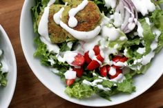 greek salad with chickpea cakes from eat this poem
