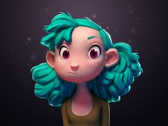 Turquoise Haired Girl, Julien Kaspar on ArtStation at https://www.artstation.com/artwork/lr6OJ