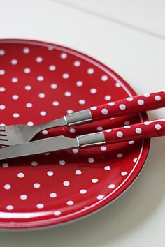 Red polka dot plate