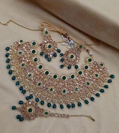 Indian Bridal Jewelry Sets, Wedding Jewelry Sets, Jewelry Party, Bridal Jewellery, Celebrity Jewelry, Trendy Necklaces, Crystal Collection, Christmas Jewelry, How To Make Beads