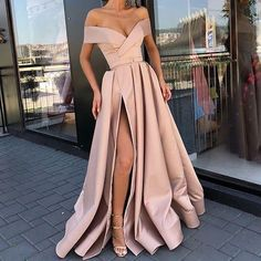 A-line Off the Shoulder Modest Side Split Red Unique Prom Dresses ,PD0877 - SposaBridal#promdresses #longpromdresses #promgown #promdress #eveningdress #partydress #fashiondress #for2019prom