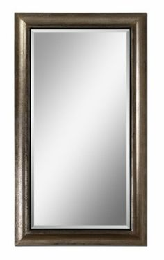 """Uttermost 14204 Jamari Mirror in Antiqued Silver Leaf, [Kitchen] MPN: 14204 by Uttermost. $397.50. Glass depth: 0.187. Glass height: 60. Mirror has a generous 1 1/4"""" bevel.. The wood frame has a textured surface finished in antiqued silver leaf with burnished details and a rustic black liner.. Glass width: 30. The wood frame features a textured surface finished in antiqued silver leaf with burnished details and a rustic black liner. Mirror features a generous 1..."""