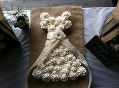 Cupcake Wedding Dress Cake - Bridal Shower - Burlap & Lace