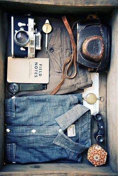Men's Accessory. Denim blouse, camera, brown leather belt. www.sophieandjames.com
