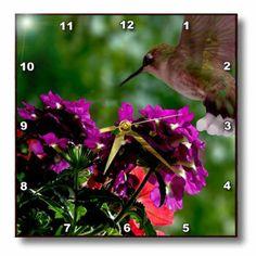 dpp_181875_1 Dawn Gagnon Photography Florals - Hummingbird on purple flower - Wall Clocks - 10x10 Wall Clock