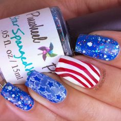 Memorial Day mani. Full details can be found on my blog for how I created this mani.  Follow me at http://instagram.com/roselynn787 #nail #nails #cutenails #naildesign #nailart #polish #cute #memorialday #redwhiteandblue