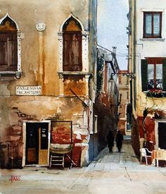 """Calle Nouva del Rio Terra, Venice"" By David Morris, from Lincolnshire, England, UK - watercolor on acid-free paper; 14 x 12 in - http://davidmorrispainting.blogspot.com.ar/ ""I studied at Leeds College of Art and taught in Hull before moving to Lincolnshire. I was Lecturer in Ceramics at Grimsby School of Art and ran a pottery studio with my wife Avril until I retired from teaching in 1990."" David Morris"