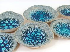 Ceramic bowls Lace bowl set 3 bowls House warming by orlydesign, $40.00