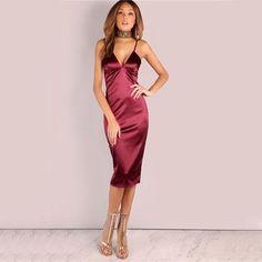 Sexy Bodycon Burgundy Satin Party Club Dress 36c9e2c2f35