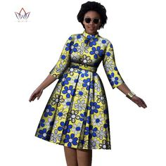 Decoration Zippers Neckline ONeck Estimated Delivery Dresses Length MidCalf Waistline Empire Sleeve Style Regular Silhouette ALine Pattern Type Print Sleeve Length(cm) Three is part of African dress - African Fashion Ankara, African Fashion Designers, Latest African Fashion Dresses, African Print Fashion, African American Fashion, African Style, Short African Dresses, African Print Dresses, Party Wear