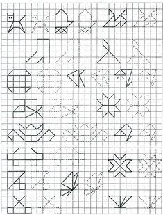 С задержкой психического развития на уроках Graph Paper Drawings, Graph Paper Art, Doodle Drawings, Rainbow Loom Patterns, Math Patterns, Mosaic Patterns, Baby Drawing, Drawing For Kids, Symmetry Worksheets